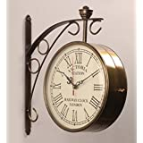 [Sponsored]Accents & Decor 10 Inch Golden Brass Victoria Station Clock/Double Side Clock/360 Degree Rotatable/Wall Clock For Home (10 Inch, 4)