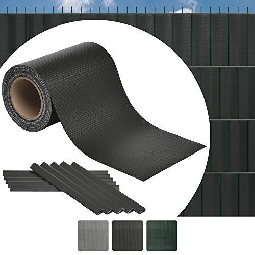 Sol Royal 35m Zaun Sichtschutzstreifen SolVision ST6 - PVC Sichtschutz Doppelstabmatten-Zaun in Anthrazit Inkl. 25 Clips