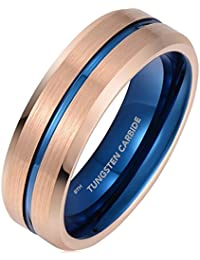 Mens Tungsten ring -Rose Gold brushed with Blue Interior Tungsten Carbide Wedding Engagement Band 7mm