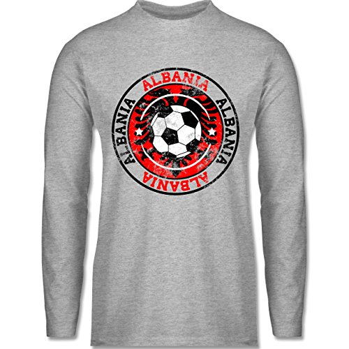 Shirtracer Fußball - Albania Kreis & Fußball Vintage - Herren Langarmshirt Grau Meliert