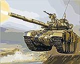 FSKJSZYH Rahmenlose DIY Zeichnung Färbung Von Zahlen Militärische Tanks Malen Nach Zahlen Als...