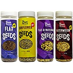 True Elements Healthy Roasted Seeds Combo Pack 500g (sunflower seeds, flax seeds, flax watermelon seeds, watermelon seeds)