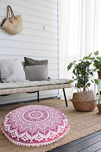 ganesham Handwerk indischen Boho Decor Mandala rund Kissen Überwurf Mandala Tapisserie Hippie Rund Sitzgelegenheit Pouf osmanischen, Mandala Boden Kissen 32x 32