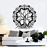 Lotus Abstract Tree of Life Branch Sticker Decalcomania da Muro in Vinile Nero M 56 cm x 57 cm