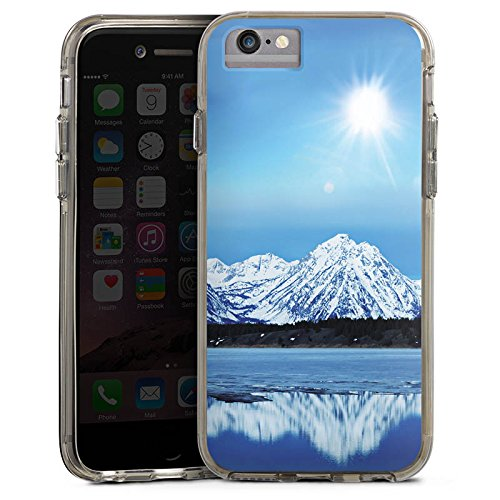 Apple iPhone 7 Bumper Hülle Bumper Case Glitzer Hülle Gebirge Schnee Snow Bumper Case transparent grau