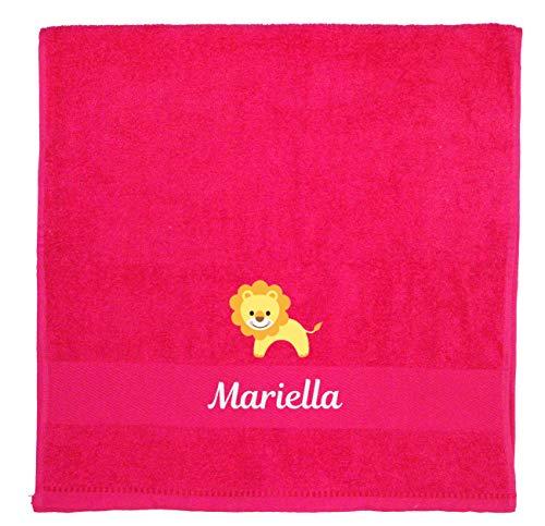 Wolimbo Kinder Badetuch pink 70x140cm mit Motiv und Namen Bestickt Kinderbadetuch