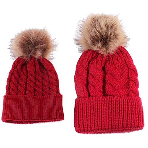 Longra Mama und Baby stricken Wolle Winter halten warme Mütze (Red)