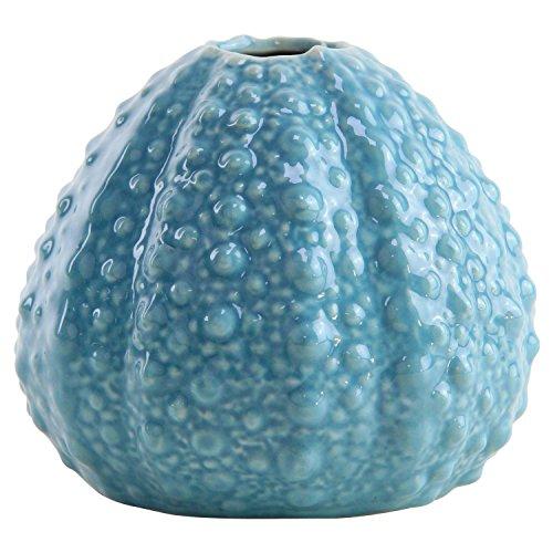 Vase Soliflore Oursin Déco Bord de Mer en Porcelaine Bleue