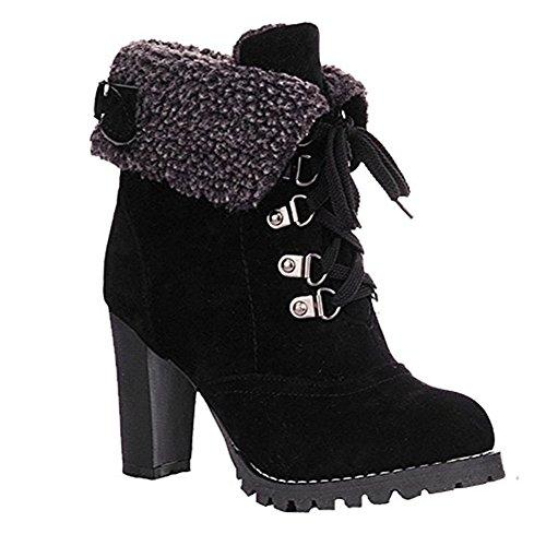 63687e104bfb1 Invernali Stivali Donna Con Tacco Alto Stivaletti Pelliccia Caldo Camoscio Scarpe  Inverno Eleganti Lace Up Plateau Ankle Boots