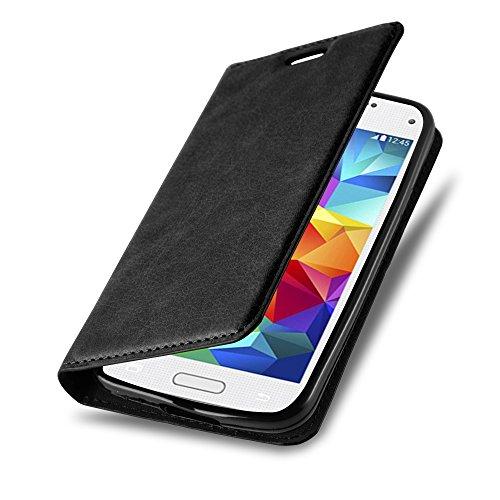 Cadorabo Hülle für Samsung Galaxy S5 Mini / S5 Mini DUOS - Hülle in Nacht SCHWARZ - Handyhülle mit Magnetverschluss, Standfunktion & Kartenfach - Case Cover Schutzhülle Etui Tasche Book Klapp Style