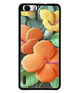PrintVisa Designer Back Case Cover for Huawei Honor 6 (Green Flowers Garden Embossed Embriodery )