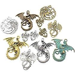 Colección de abalorios, 100 g, para manualidades, joyería, manualidades, accesorios para hacer collares y pulseras dragón