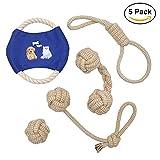 Jouets de corde de chien ANICOR brun clair jouets à mâcher durables coton corde nettoyer les dents jouets pour petits, moyens et grands chiens 5 paquet cadeau