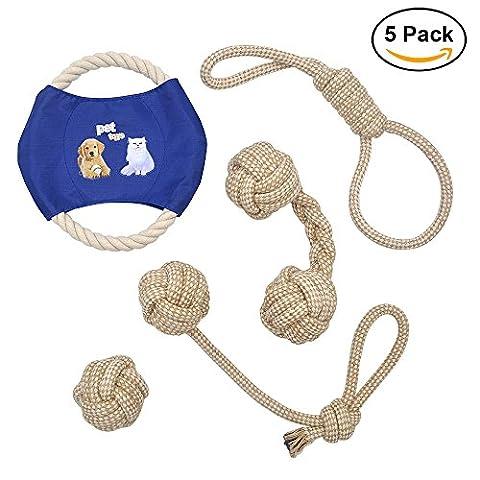 Dog Seil Spielzeug ANICOR Farbe Seil Durable Chew Spielzeug Baumwolle Seil Reinigen Sie die Zähne Spielzeug für kleine, mittlere und große Hunde 5 Pack Geschenk (Weihnachten Seil Spielzeug)