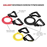Gallant Resistance Exercise Fitness Bands Tube For Men Women Set Light Medium Heavy in Yellow, Pink and Black Colours Rubber Reistance Bands With Handles