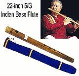 Deep Bass indischen Bansuri Dick Burnt Bambus 4/F 66cm Querflöte mit Samt Cover