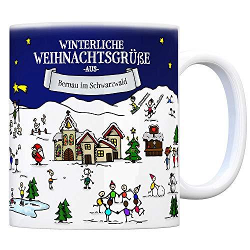 trendaffe - Bernau im Schwarzwald Weihnachten Kaffeebecher mit winterlichen Weihnachtsgrüßen - Tasse, Weihnachtsmarkt, Weihnachten, Rentier, Geschenkidee, Geschenk -