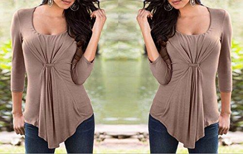 QIYUN.Z Frauen Falte Unregelmäßigen Rand Rundhalsausschnitt Sexy Feste Farbe Langarm-Shirts Braun