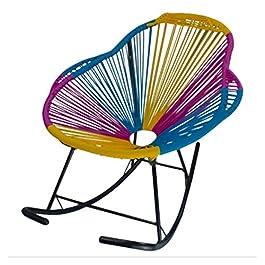 HENRYY Fauteuil à Bascule pour Adulte, Chaise pour Enfant, Fauteuil à Bascule en rotin, Chaise de Loisirs, Bois Dense…