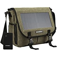 ECEEN 7Watts Solar Powered Shoulder Messenger Bag, Solar Charger Pack / Canvas Hiking Traveling Satchel Bag Charging For Smart Cell Phones, GPS, Digital Cameras etc. 5V Device