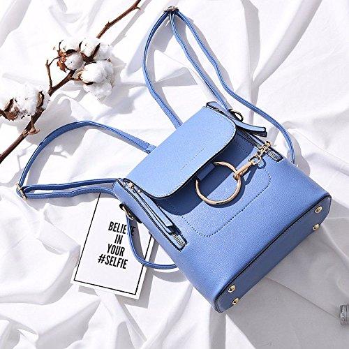 BMKWSG PU Leder Rucksack Casual Daypack für Frauen/Mädchen Modern Blau