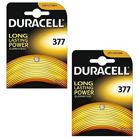 2 x Duracell 377 1.5v Silver Oxide Watch Battery Batteries