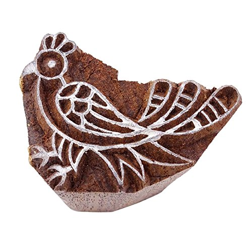 Indian VogelmarkeBrown Textile Holz Holz Briefmarken geschnitzte Hand-Block-Druck