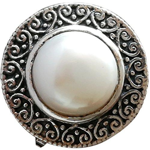 24ct Natur Pearl Ring Boho Style 925Sterling Silber handgefertigt uns Größe 6, Party Geburtstag Geschenk Kinder-ringe Für Mädchen Birthstones