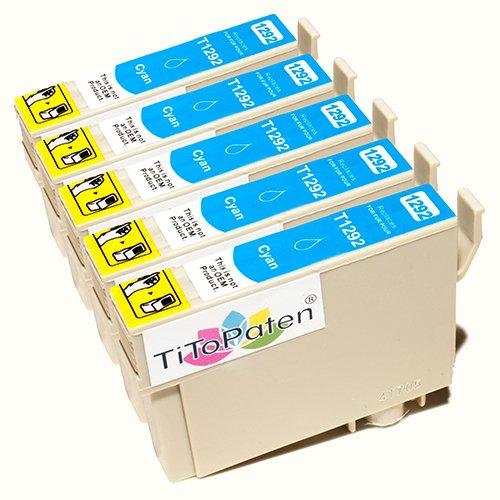 *TITOPATEN* 5x Epson Workforce WF 3520 DWF kompatible XL Druckerpatrone ersetzt Typ T1291-1294 - Cyan - Patrone MIT CHIP !!!