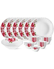 Larah by Borosil Rose Red Silk Series Opalware Dinner Set