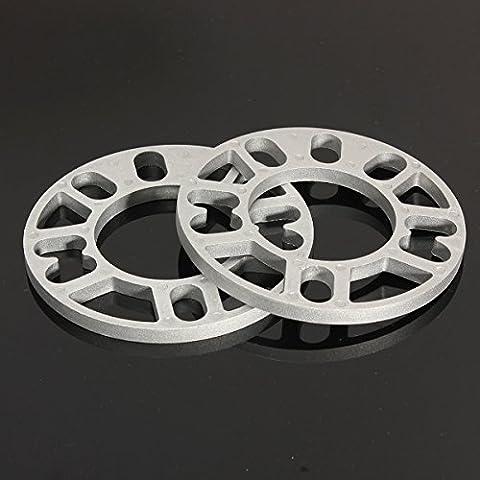 Yongse 2 Stück Universal 10MM Legierung Aluminium Spurverbreiterungen Shims Platte 4 / 5 Stud Fit