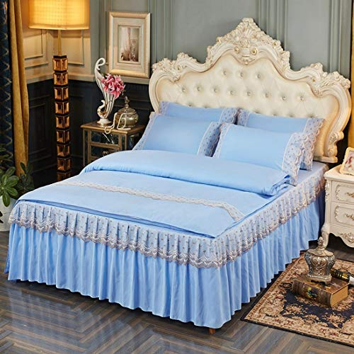 Klerokoh Neue Princess Style Lace einfarbig Lotusblatt Lace Bett Rock Set (Color : Blue, Size : Queen) -