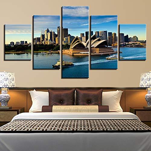 lsweia Leinwand HD Prints Poster Home Wandkunst Rahmen 5 Stück Sydney Opera House Gemälde Boot Yacht Hafen Landschaft Bild