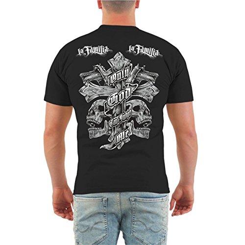 Männer und Herren T-Shirt La Familia Judge Me (mit Rückendruck) Größe S - 8XL Schwarz