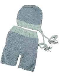 Hrph Recién nacido apoyos de la fotografía del traje hecho a mano de punto de ganchillo Beanie sombrero infantil y pantalones linda para el bebé