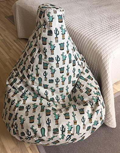 Sitzsack Kaktus Leinen Bezug Mexikanischer Stil Sitzsäcke für Erwachsene Natürliche Stoffe die Kakteen Muster Sitzkissen Sessel Mit Inenbezug OHNE FÜLLUNG