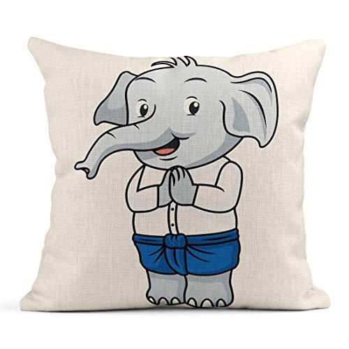 Asiatische Traditionelle Kostüm - Dekokissen Grey Animal Cartoon Elephant im traditionellen thailändischen Kostüm-asiatischen Jungen-Charakter-Leinen-Kissen-Ausgangsdekoratives Kissen