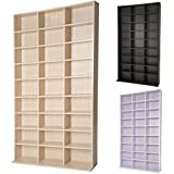 TecTake CD DVD storage tower rack for 1080 CDs - different colours - (Beech | no. 401702)