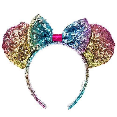 Claire's Girl's Disney Minnie Mouse Rainbow Sequined Ears Headband