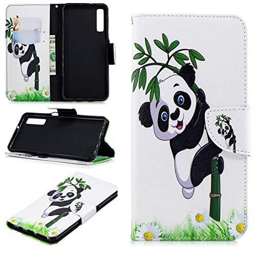 Ostop Portefeuille en Cuir Coque pour Samsung Galaxy A7 2018/A750,Stand Étui Imprimé Motif Panda Bambou Blanc Housse Fermeture Magnétique à Rabat Fentes pour Cartes Antichoc Couverture