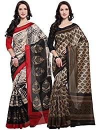 Rajnandini Women's Jute Silk Printed Saree(JOPLNB11005-13_Multicolor_Combo Of 2)