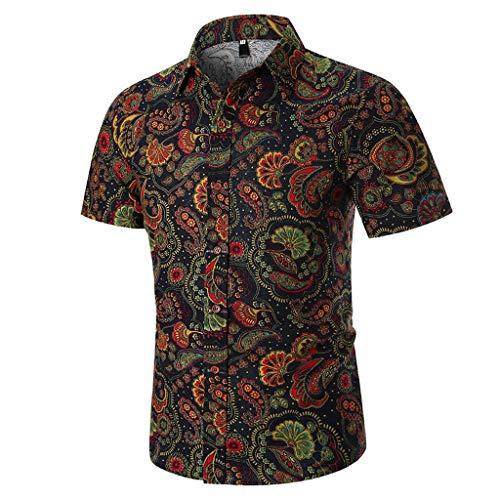 Luckycat Hawaiishirt Freizeithemd Urlaub Hawaii-Print Herren Hemd Kurzarm Shirt Sommer Hawaiihemd für Strand Freizeit Funky Hawaiihemd Herren Kurzarm Front-Tasche Große Blumen Blätter Sommer Strand