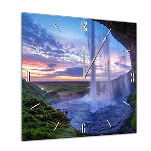 Bilderdepot24 Glasuhr Sonne, Strand und Meer - Seljalandsfoss Wasserfall in Island - 40x40cm - Handmade in Berlin - Uhr aus Glas - Wanduhr aus Glas - 3D Optik - Analog - dekoratives Muster