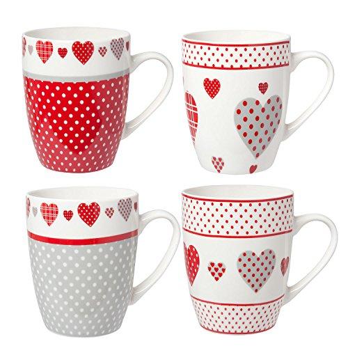 Clayre & Eef 6CEMS0020 4er SET Kaffeetassen weiss grau rot Herzen Punkte Tassen Keramik 03L...