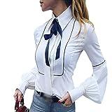 LvRaoo Donna Elegante Camicia Bavero Manica Lunghe Camicetta con Fiocco Tops Blusa (Bianca, CN L)