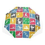 EZIOLY Sport-Icons Reise-Regenschirm, kompakt, faltbar, Sonnen- und Regenschutz, Winddicht, tragbar