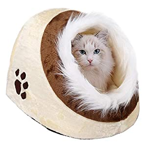 Yaheetech Igloo Pet Bed for Small Dog Cat Kitten Beige/Brown (35 x 40 x 30 cm) from Yaheetech