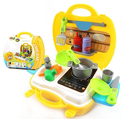 Kids Choice Ultimate Kid Chef's Bring Along Kitchen Pretend Play Toys Suitcase Set (Yellow)