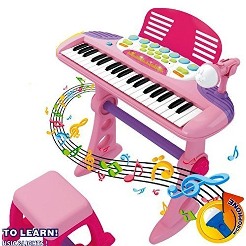 electronic-37-key-keyboard-musical-light-up-piano-mic-stand-and-stool-kids-childrens-toy-play-set-gi