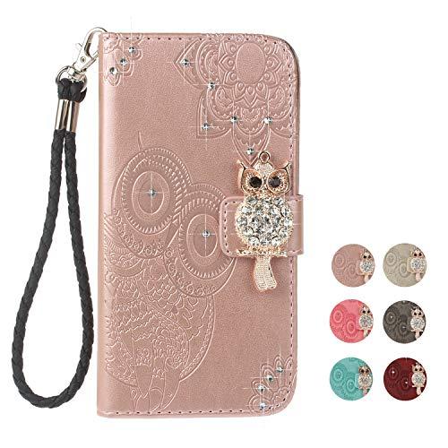 E-Panda iPhone 5 5S SE Hülle Rose Gold Mandala Eule Muster Glitzer Design PU Leather Wallet Cover Flip klappbar Case Handyhülle Lederhülle Tasche Etui schutzhülle mit Kartenfach